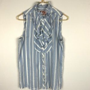 Juicy Couture Striped Ruffle Sleeveless Blouse 8